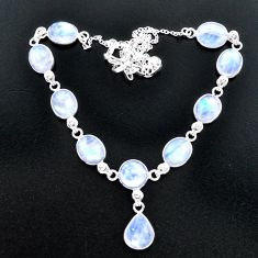 39.28cts natural rainbow moonstone 925 sterling silver necklace jewelry t37657