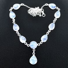 33.68cts natural rainbow moonstone 925 sterling silver necklace jewelry t37658