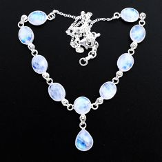 37.13cts natural rainbow moonstone 925 sterling silver necklace jewelry t48719