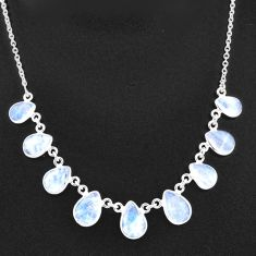29.22cts natural rainbow moonstone pear sterling silver necklace jewelry t16096