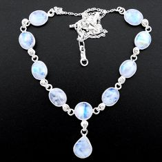 35.80cts natural rainbow moonstone round 925 sterling silver necklace t26408