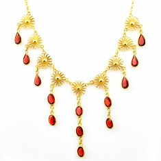 24.42cts natural red garnet 925 sterling silver 14k gold necklace jewelry r27596