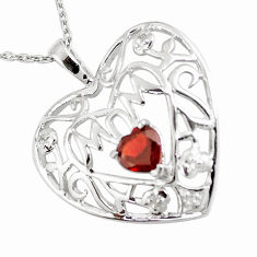 2.78cts natural red garnet 925 sterling silver heart necklace jewelry c20516