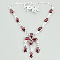 23.04cts natural red garnet pear 925 silver necklace jewelry t34105