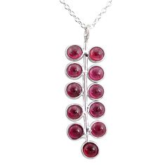 6.39cts natural red garnet round 925 sterling silver necklace jewelry t4701