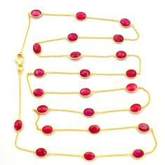 36.26cts natural red ruby 925 sterling silver 14k gold chain necklace r31479