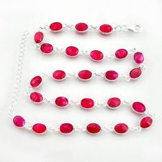 39.70cts natural red ruby 925 sterling silver chain necklace jewelry r38706