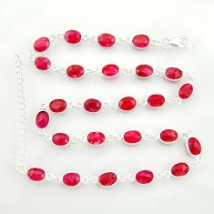 37.79cts natural red ruby 925 sterling silver chain necklace jewelry r38709