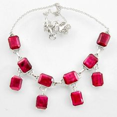 44.95cts natural red ruby 925 sterling silver necklace jewelry r44750