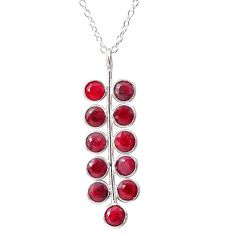 6.39cts natural red ruby 925 sterling silver handmade necklace jewelry t12387