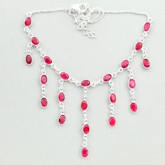 22.25cts natural red ruby 925 sterling silver necklace jewelry t50316