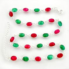 38.45cts natural red ruby emerald 925 silver chain necklace jewelry r38701