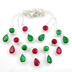 55.30cts natural red ruby emerald pear 925 silver earrings necklace set d45854