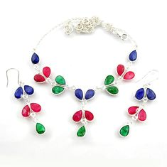 53.70cts natural red ruby emerald sapphire silver earrings necklace set d45855
