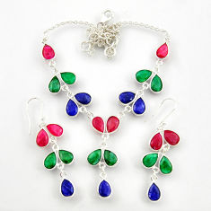 52.00cts natural red ruby emerald sapphire silver earrings necklace set d45856