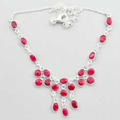 22.57cts natural red ruby oval 925 sterling silver necklace jewelry t50342