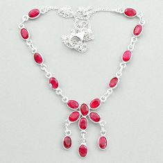 20.33cts natural red ruby oval 925 sterling silver necklace jewelry t50348