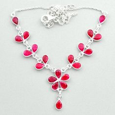 20.94cts natural red ruby pear 925 sterling silver necklace jewelry t50373