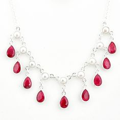 22.13cts natural red ruby pearl 925 sterling silver necklace jewelry r77389
