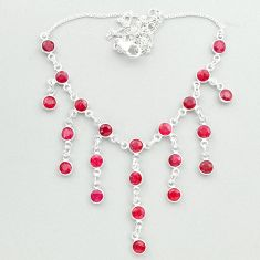 19.84cts natural red ruby round 925 sterling silver necklace jewelry t50311