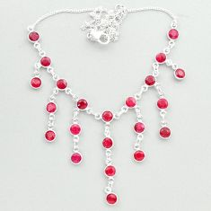 18.22cts natural red ruby round 925 sterling silver necklace jewelry t50313