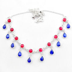 22.57cts natural red ruby sapphire 925 sterling silver necklace jewelry t40591