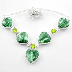 63.08cts natural seraphinite (russian) heart peridot 925 silver necklace r52313