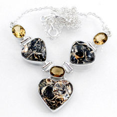 51.71cts natural turritella fossil snail agate 925 silver heart necklace r71622
