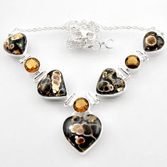 65.50cts natural turritella fossil snail agate heart 925 silver necklace r52310