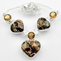 44.07cts natural turritella fossil snail agate heart 925 silver necklace r52335