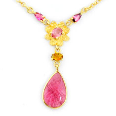 7.32cts natural watermelon tourmaline carving 14k gold collector necklace r71524