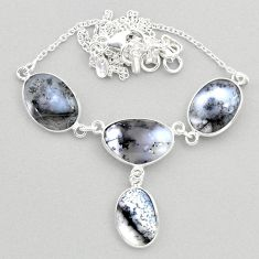 21.48cts natural white dendrite opal (merlinite) 925 silver necklace t45265