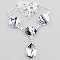 21.48cts natural white dendrite opal (merlinite) 925 silver necklace t45267