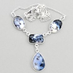 22.07cts natural white dendrite opal (merlinite) 925 silver necklace t45268