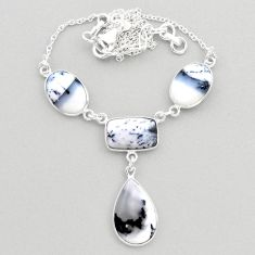 23.11cts natural white dendrite opal (merlinite) 925 silver necklace t45270