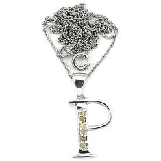 Natural white diamond 925 sterling silver initial p necklace pendant c20507