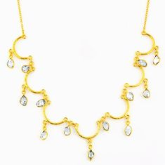 21.48cts natural white herkimer diamond 925 silver 14k gold necklace r64242