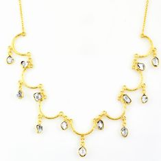 22.26cts natural white herkimer diamond 925 silver 14k gold necklace r64244