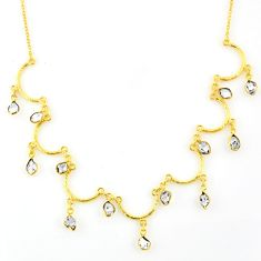 21.03cts natural white herkimer diamond 925 silver 14k gold necklace r64248