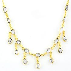 20.65cts natural white herkimer diamond 925 silver 14k gold necklace r64250