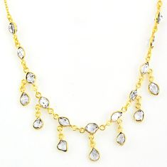 20.07cts natural white herkimer diamond 925 silver 14k gold necklace r64251