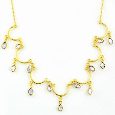 21.48cts natural white herkimer diamond 925 silver 14k gold necklace r64253