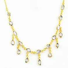 20.07cts natural white herkimer diamond 925 silver 14k gold necklace r64255