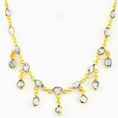 20.07cts natural white herkimer diamond 925 silver 14k gold necklace r64259