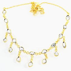 17.67cts natural white herkimer diamond 14k gold handmade necklace r71992