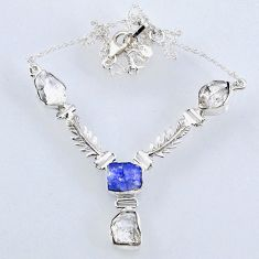 25.88cts natural white herkimer diamond 925 silver necklace jewelry r61190