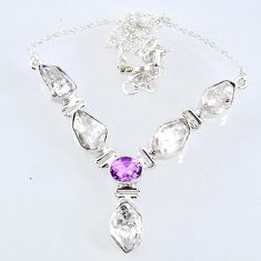 29.66cts natural white herkimer diamond amethyst 925 silver necklace r61181