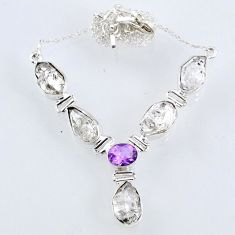 29.23cts natural white herkimer diamond amethyst 925 silver necklace r61182
