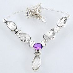 31.28cts natural white herkimer diamond fancy amethyst silver necklace r61183