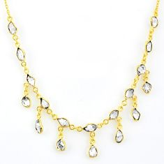 19.72cts natural white herkimer diamond fancy silver 14k gold necklace r64246